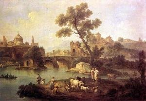 Famous paintings of Squares and Piazzas: Landscape with River and Bridge c. 1740