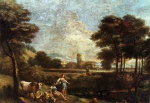 Famous paintings of Goats: Landscape with Shepherds and Fishermen