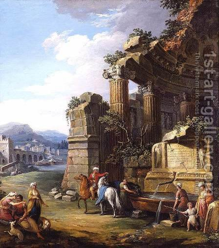 Italianate River Landscape by Giuseppe Zocchi - Reproduction Oil Painting