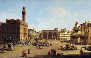 Famous paintings of Squares and Piazzas: The Piazza della Signoria in Florence