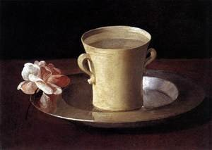 Famous paintings of Plates & Bowls: Cup of Water and a Rose on a Silver Plate c. 1630