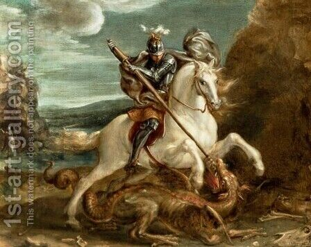 Hans Von Aachen: St. George slaying the dragon - reproduction oil painting