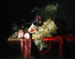 Reproduction oil paintings - Willem Van Aelst - A still life with grapes, plums, figs and a melon on a partly draped stone ledge 1653
