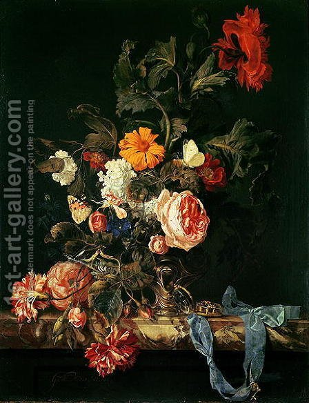 Willem Van Aelst: Still Life with Poppies and Roses - reproduction oil painting