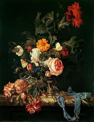 Reproduction oil paintings - Willem Van Aelst - Still Life with Poppies and Roses