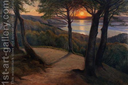 Sunset by Hans Mortensen Agersnap - Reproduction Oil Painting