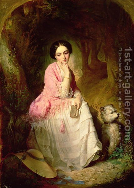 Woman Seated in a forest glade by Gyorgyi Alajos Giergl - Reproduction Oil Painting