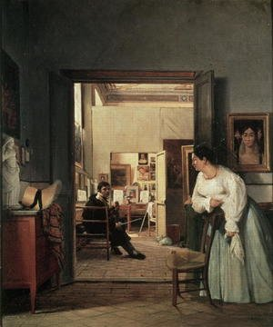 Famous paintings of Studios and Workshops: The Studio of Ingres in Rome 1818
