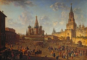 Famous paintings of Squares and Piazzas: Red Square, Moscow 1801