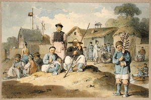 Famous paintings of Villages: A group of Chinese on the bank of a river, watching the Earl Macartney's Embassy pass, 1793