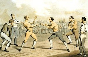 Famous paintings of Boxing: A Prize Fight, from 'The National Sports of Great Britain' 1823