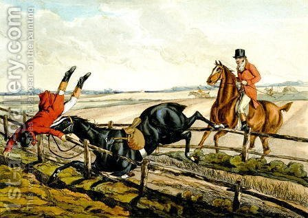 Misjudging the Jump, plate from 'Qualified Horses and Unqualified Riders', 1815 by Henry Thomas Alken - Reproduction Oil Painting