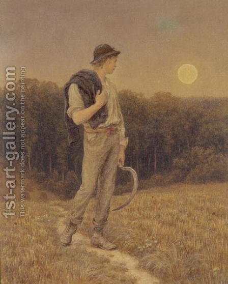 The Harvest Moon, 'globed in mellow splendour', 1879 by Helen Mary Elizabeth Allingham, R.W.S. - Reproduction Oil Painting