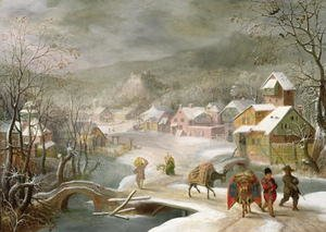 Famous paintings of Villages: A Winter Landscape with Travellers on a Path