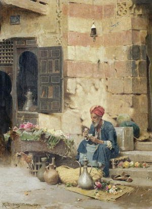 Realism painting reproductions: The Flower Seller  1891