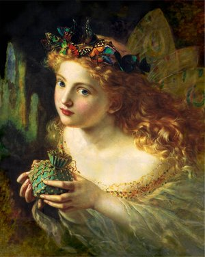 Famous paintings of Butterflies: 'Take the Fair Face of Woman, and Gently Suspending, With Butterflies, Flowers, and Jewels Attending, Thus Your Fairy is Made of Most Beautiful Things', Charles Ede