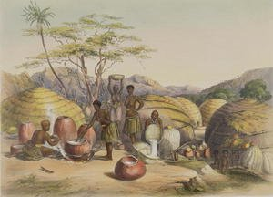 Gudu's Kraal at the Tugala, Women making Beer, plate 26 from 'The Kafirs Illustrated', 1849