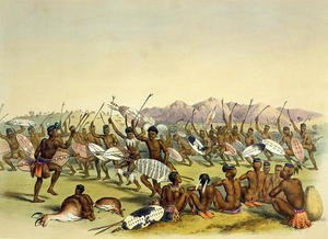 Zulu Hunting Dance near the Engooi Mountains, plate 14 from 'The Kafirs Illustrated', 1849
