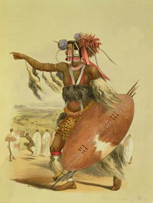 Zulu warrior, Utimuni, nephew of Chaka the late Zulu king, plate 13 from 'The Kafirs Illustrated', 1849