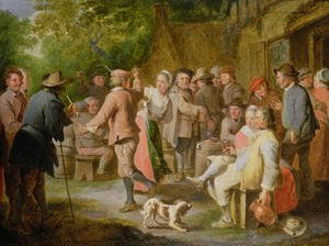 Famous paintings of Villages: A Country Fete with Figures Dancing