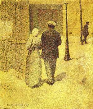 Pointillism painting reproductions: A Couple in the Street, 1887