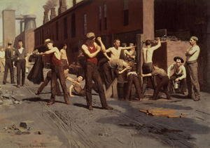 Realism painting reproductions: Iron Workers at Noontime, 1882