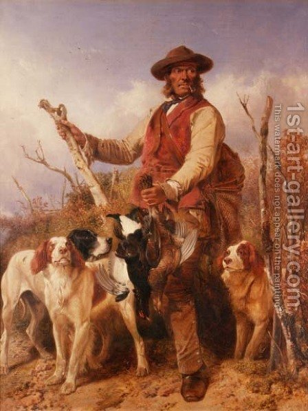 Richard Ansdell: Gamekeeper with Dogs - reproduction oil painting