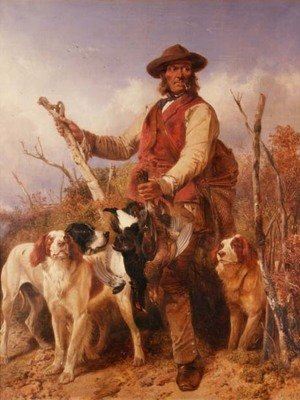 Romanticism painting reproductions: Gamekeeper with Dogs