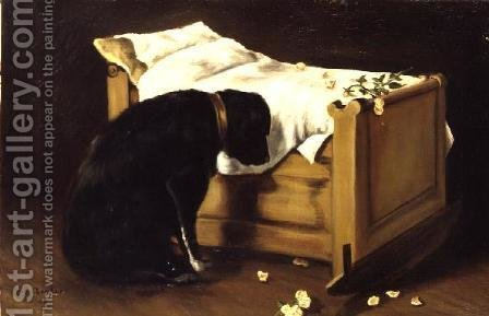 Dog Mourning Its Little Master, 1866 by A. Archer - Reproduction Oil Painting