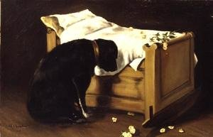 Romanticism painting reproductions: Dog Mourning Its Little Master, 1866