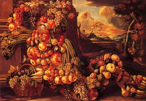 Famous paintings of Vegetables: Seated Figure of Summer  1573