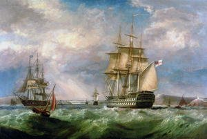Romanticism painting reproductions: British Men-O'-War Sailing into Cork Harbour