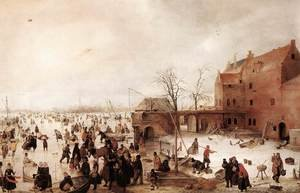 Famous paintings of Villages: A Scene on the Ice near a Town, c.1615