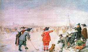 Famous paintings of Golf: Golf on the Ice on the River Ijsel near Kampen