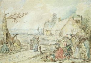 Famous paintings of Villages: Landscape with Gypsy Fortune-Tellers