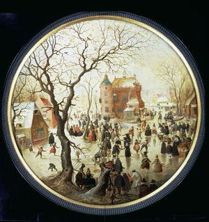Famous paintings of Villages: Winter Scene with Skaters near a Castle  c.1608-09