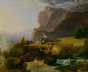Romanticism painting reproductions: Battle of Thermopylae in 480 BC, 1823