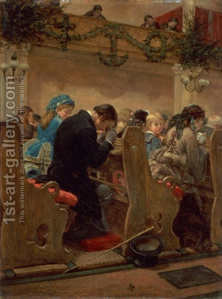 Christmas Prayers 1872 by Henry Bacon - Reproduction Oil Painting
