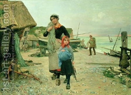 Fisherfolk Returning with their Nets, Etretat 1882 by Henry Bacon - Reproduction Oil Painting