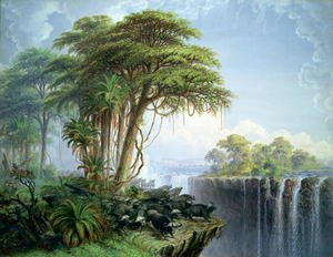 Naturalism painting reproductions: Buffalos Driven to the Edge of the Chasm opposite Garden Island, Victoria Falls