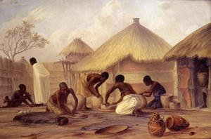 Famous paintings of Villages: Manufacture of sugar at Katipo - making pots to contain it