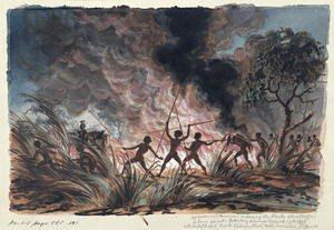 Mr Phibbs and Bowman engaging the blacks who attempted to burn us out... Depot Creek, Victoria