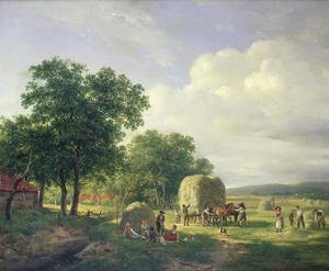 Wooded landscape with haymakers