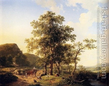 Wooded landscape with peasants and animals by Hendrikus van den Sande Bakhuyzen - Reproduction Oil Painting