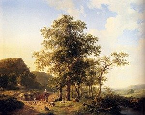 Wooded landscape with peasants and animals