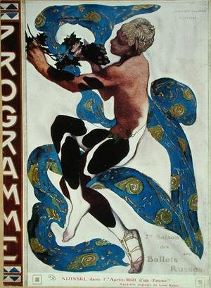 Art Deco painting reproductions: Nijinsky's Faun Costume in 'L'Apres Midi d'un Faune' by Claude Debussy