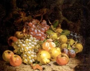 Famous paintings of Dairy & Milk: Still life of grapes, pears and apples 1873