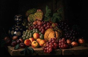 Romanticism painting reproductions: Still Life with Fruit and a Blue Vase