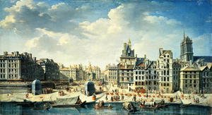 Famous paintings of Ports: A square on the banks of the Seine in Paris