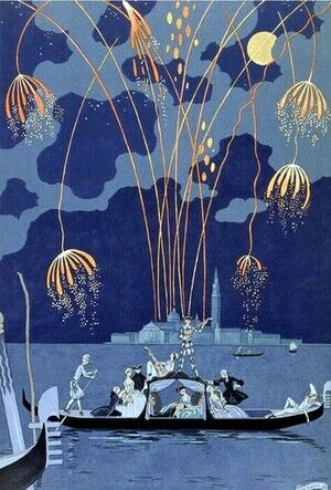 Modernism painting reproductions: Fireworks in Venice, illustration for 'Fetes Galantes'